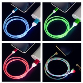 TUTEW LED Glow Flowing Charger Cable Luminous Lighting Fast Charging Micro USB Type C For iPhone Android Phone USBC Wire Cord