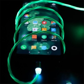 Tutew  Magnetic charging Mobile Phone Cable Flow Luminous Lighting cord charger Wire for Samaung LED Micro USB Type C for iphone
